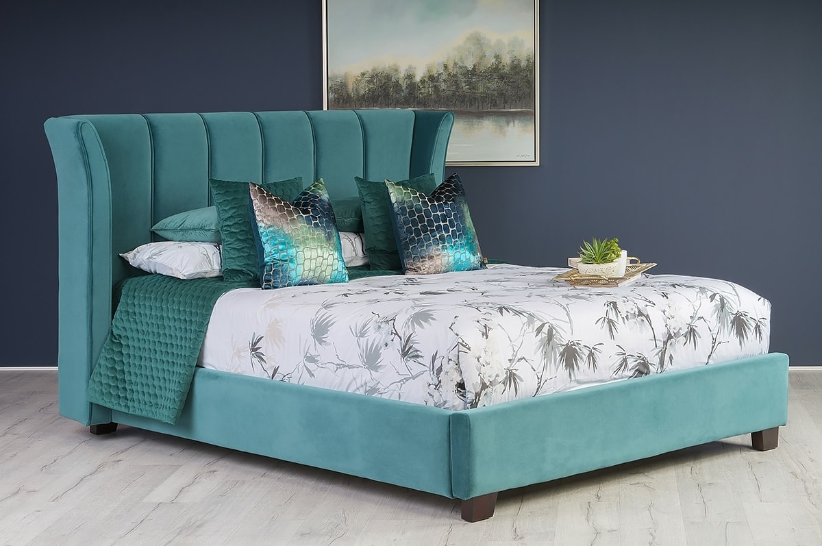Cloudy Teal Velvet 6 Bed Frame Michael Murphy Home Furnishing